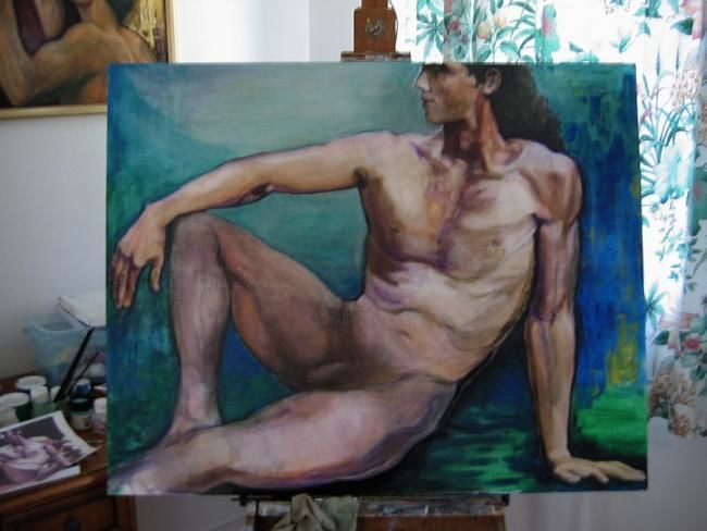 Adam - Painting,  31.5x39.4 in, ©2010 by Ludmila Constant -                                                                                                                                                                          Classicism, classicism-933, Nu. Homme assis.