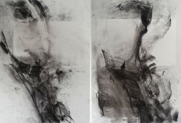 """Drawing titled """"#22221, Figures abs…"""" by Ludovic Michaux (Ludom), Original Art, Charcoal"""
