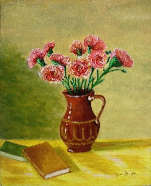 Can With Flowers - Painting,  27x35 cm ©2004 by Ludovic Van Begin -            flowers