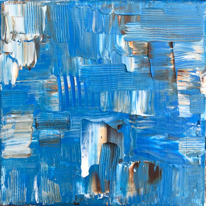 Wave - Peinture,  7,5x7,5x0,6 in, ©2019 par Ludwika Pilat -                                                                                                                                                                                                                                                                      Abstract, abstract-570, Eau, Art abstrait, blue