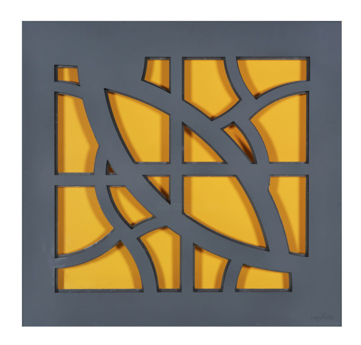 Abstract Yellow - Sculpture,  39x39x4 in, ©2012 by lugufelo -                                                                                                                                                                                                                                                                                                              Geometric, geometric-572, Lugufelo animated metals photoshoot, Yellow, grey, wall sculpture