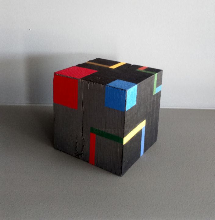 Cube a - Sculpture,  3.5x3.5x3.5 in, ©2020 by Luis Medina -                                                                                                                                                                                                                                                                                                                                                                                                                                                                                                                                                                                                                                                                                                                                                                          Geometric, geometric-572, Abstract Art, Architecture, Colors, Geometric, geometric, contemporary, abstract, modern, grey, color, Mondrian, cube, structure, space