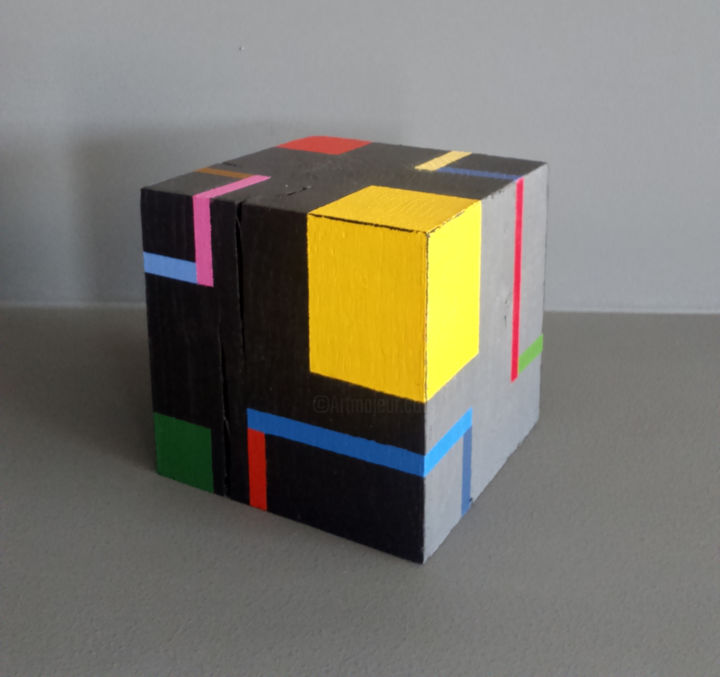 Cube b - Sculpture,  3.5x3.5x3.5 in, ©2020 by Luis Medina -                                                                                                                                                                                                                                                                                                                                                                                                                                                                                                                                                                                                                                                                                                                                                                          Geometric, geometric-572, Abstract Art, Colors, Geometric, Architecture, geometric, abstract, contemporary, modern, grey, color, space, cube, structure, Mondrian