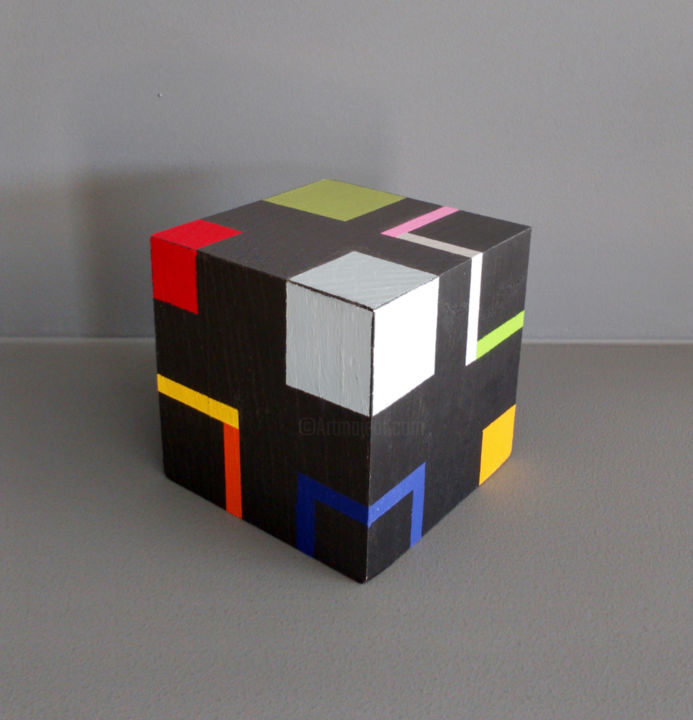 Cube c - Sculpture,  3.5x3.5x3.5 in, ©2020 by Luis Medina -                                                                                                                                                                                                                                                                                                                                                                                                                                                                                                                                                                                                                                                                                                                                                                                                                      Geometric, geometric-572, Abstract Art, Architecture, Colors, Geometric, geometric, small sculpture, contemporary, modern, color, grey, wood, structure, cube, Mondrian, abstract