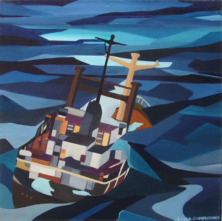 40-nodi.jpg - Painting,  40x40 cm ©2010 by Luisa Giovagnoli -                                                            Contemporary painting, Canvas, Ships, tempesta