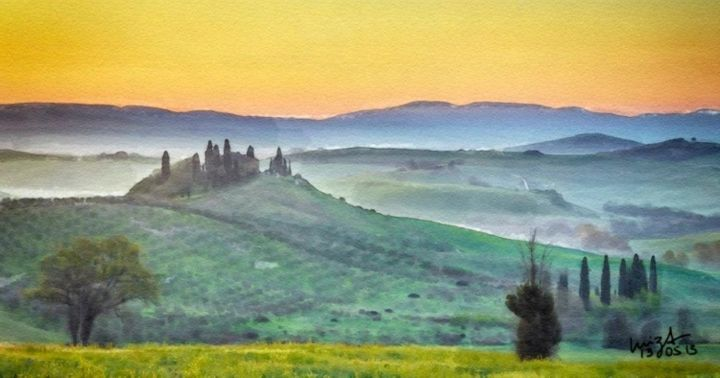 Tuscany - Painting, ©2013 by Luiza Estrella -                                                                                                                                                      digital, painting, watercolor
