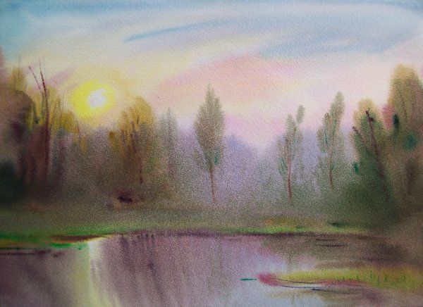 """Twilight"" - Painting,  38x28 cm ©2012 by Lukyanovart -                            Figurative Art, Creative watercolors painting"