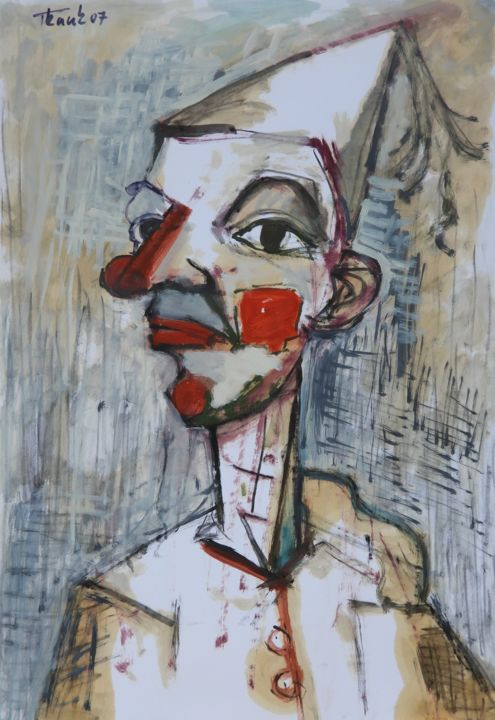 """Painting titled """"Clown with red a no…"""" by Lubomir Tkacik, Original Art, Oil"""