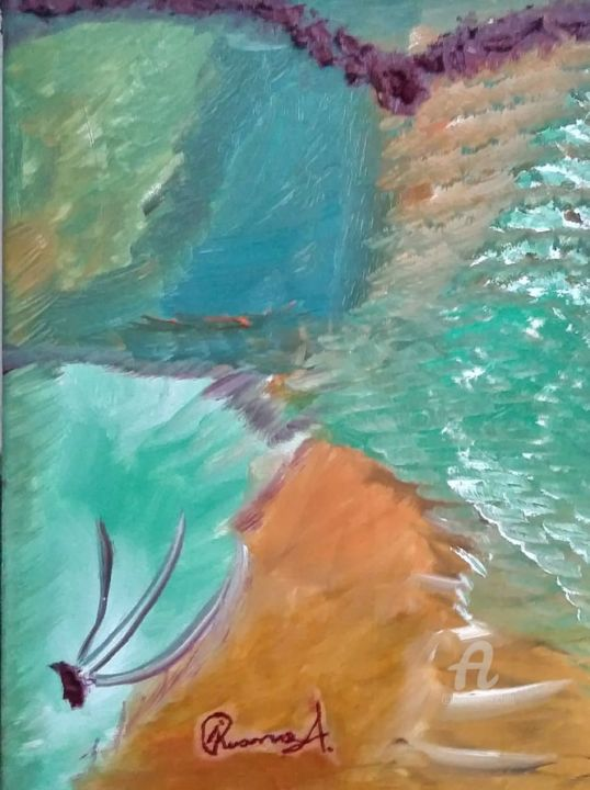 mystère infini - Painting,  40x30 cm ©2018 by Luz Alison Ruano -                                                        Abstract Art, Canvas, Colors