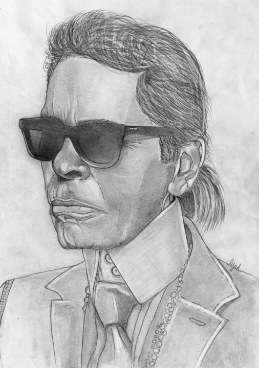 Karl Lagerfeld - Drawing,  11.7x8.3x31.5 in, ©2019 by Eric SCHROEDEL -                                                                                                              Celebrity, karl lagerfeld