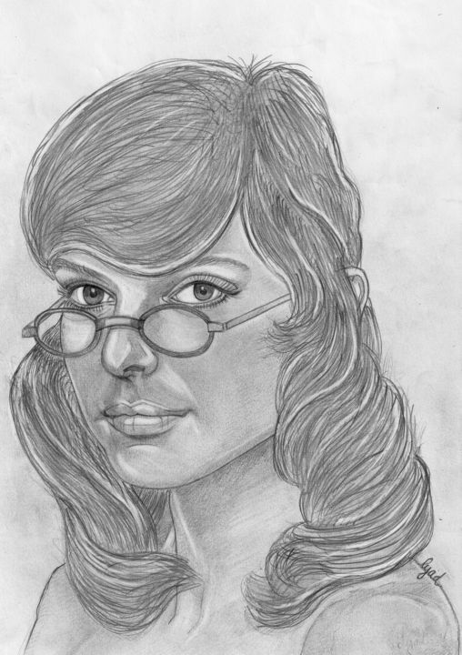 France Gall - Drawing,  11.7x8.3 in, ©2019 by Eric SCHROEDEL -                                                                                                              Portraits, france gall