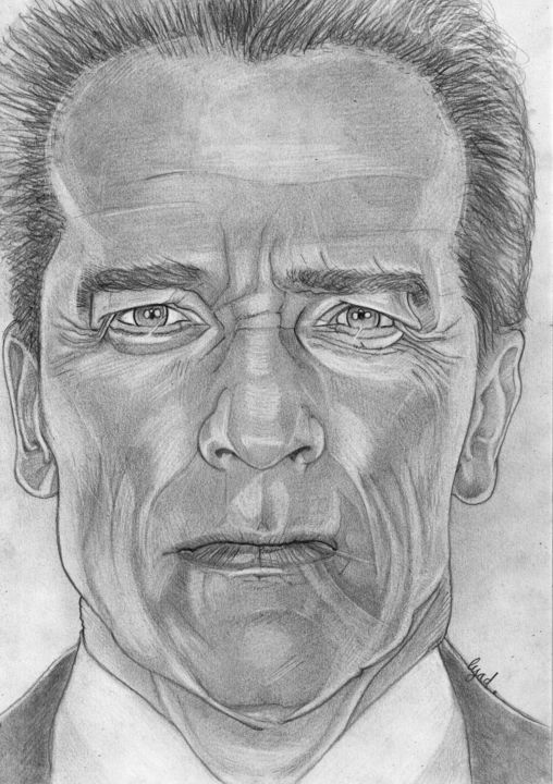Arnold Schwarzenegger - Drawing,  11.7x8.3 in, ©2019 by Eric SCHROEDEL -                                                              Arnold Schwarzenegger