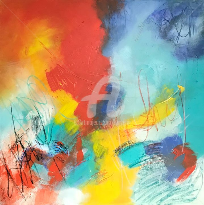 Signature - Painting,  100x100x4 cm ©2018 by Suely Blot -                                                            Abstract Art, Canvas, Abstract Art, signature, poesie, ecriture, alegria, orange, jaune, art, abstract