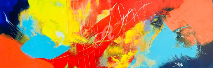 S'évader 1 - Painting,  40x120x4 cm ©2018 by Suely Blot -                                                                                                Outsider Art, Abstract Art, Conceptual Art, Art Deco, Canvas, Abstract Art, abstract, abstaction, colors, rouge, jaune, voyage, aprtir, fuir, moderne, fineart, canvas, painting, collection, galerie