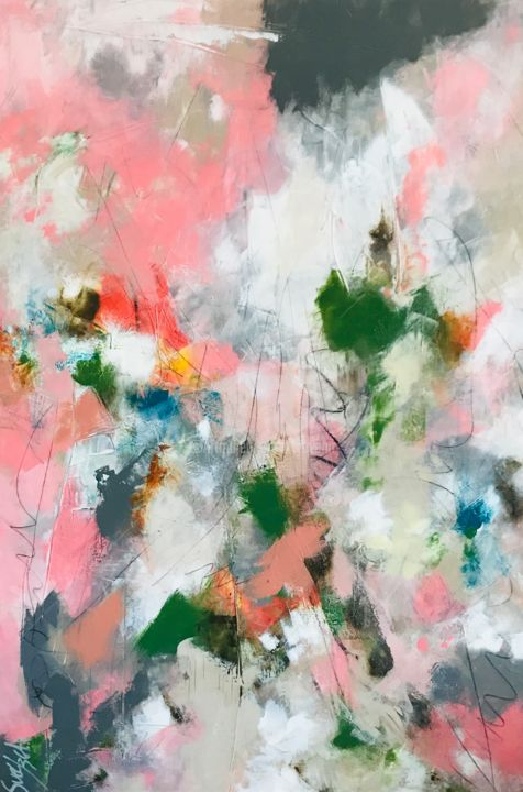 Le vent - Painting,  51.2x35x1.6 in, ©2019 by Suely Blot -                                                                                                                                                                                                                                                                                                                                                                                                                                                                                                                                                                                                                                                                                                                                                                                                                                                                  Abstract, abstract-570, Abstract Art, Colors, Flower, Landscape, abstract, art, colors, canvas, nature, peinture, rose, deco, maison, painting, fineart, abstraction