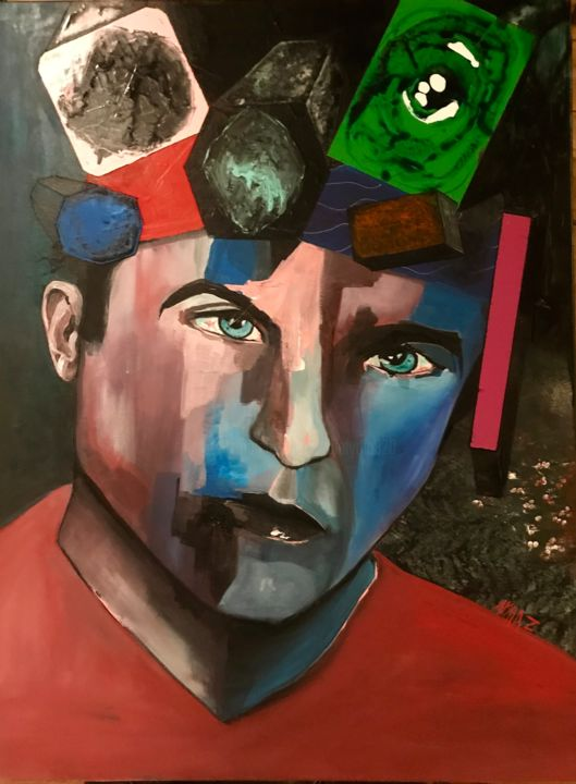 """Painting titled """"Niko's boxes"""" by Lydia Zioga, Original Art, Acrylic"""