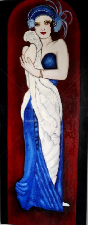 femme-1930 - Painting,  15.8x31.5x1.2 in, ©2018 by dylie -                                                                                                                                                                                                                                                                                                                  Figurative, figurative-594, Women, femme, années, folles