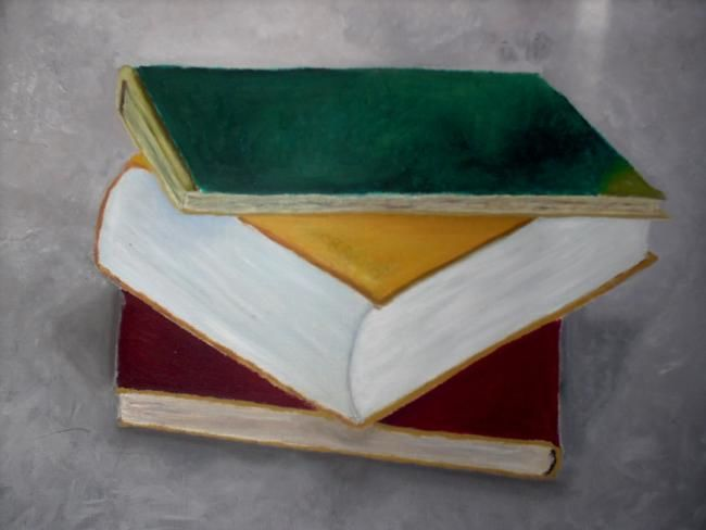 """Painting titled """"books"""" by Lyhne, Original Art, Oil"""