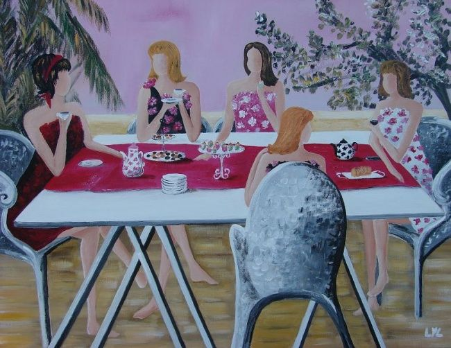 les dames en rose - Painting,  50x60 cm ©2010 by Lyl -            dames autour d'une table