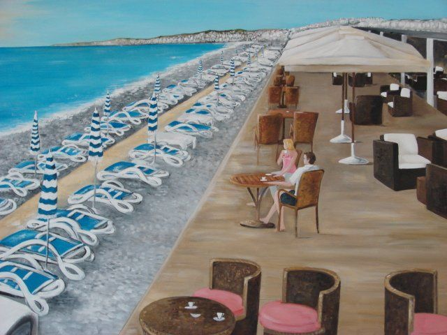 opera plage Nice - Painting ©2011 by Lyl -
