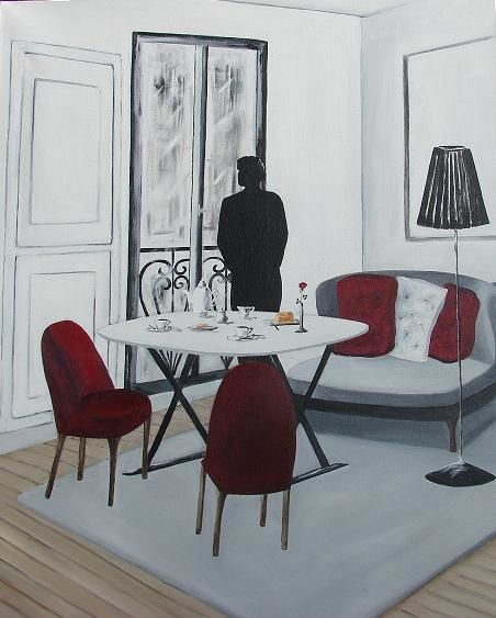 L'Attente - Painting,  27.6x23.6 in, ©2011 by Lyl -                                                              silhouette homme salon