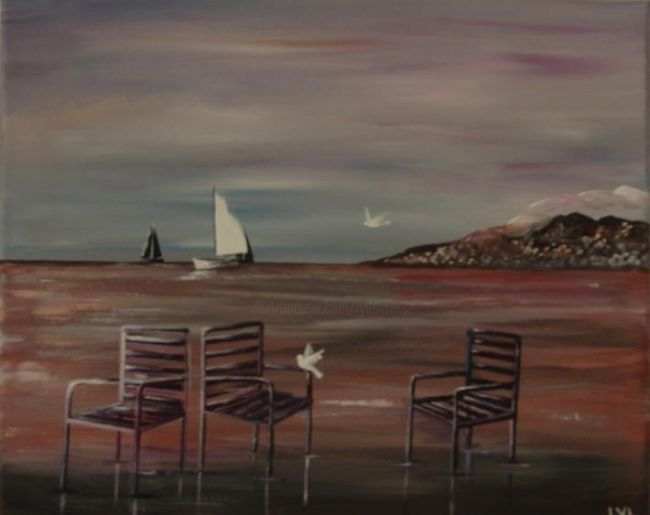 Chaises de Nice - Painting,  7.9x11.8 in, ©2011 by Lyl -                                                              chaises nice