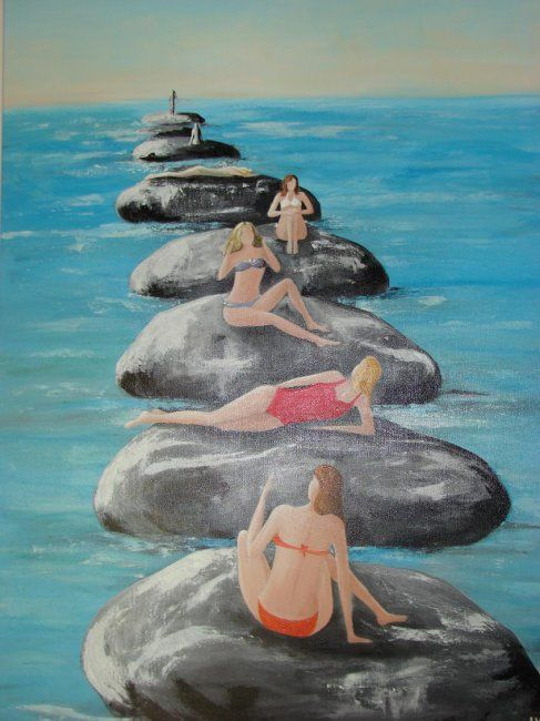 Rochers - Painting,  70x100 cm ©2011 by Lyl -            rochers nageuses plage nice