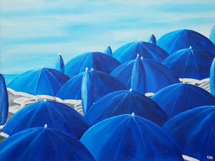 Parasols - Painting,  19.7x31.5 in, ©2013 by Lyl -                                                              parasol