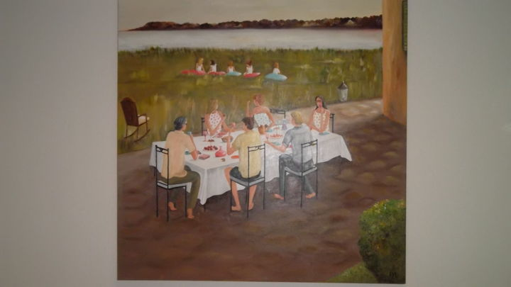 le gouter des parents - Painting,  100x100 cm ©2013 by Lyl -            jardin table personnages