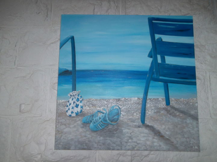 meduses - Painting,  80x80 cm ©2014 by Lyl -                                                            Figurative Art, Canvas, Seascape, galets, chaises bleues, chaussures meduses plage