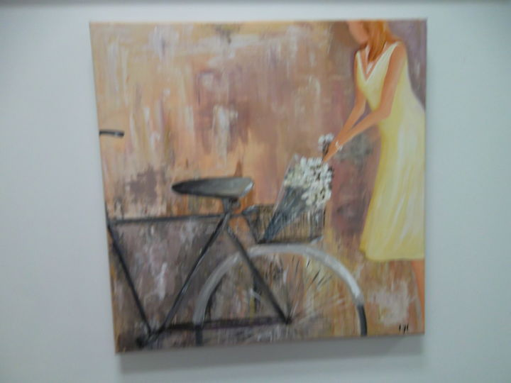 le bouquet - Painting,  60x60 cm ©2014 by Lyl -                                                            Contemporary painting, Canvas, Women, velo fleurs femme