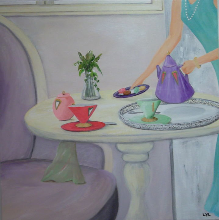 Douceurs - Painting,  60x60 cm ©2014 by Lyl -                                                            Contemporary painting, Canvas, Interiors, the tasses, table