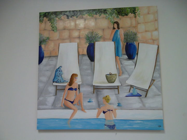 Bleu piscine - Painting,  27.6x27.6 in, ©2014 by Lyl -                                                                                                                                                          People, piscine, maillot