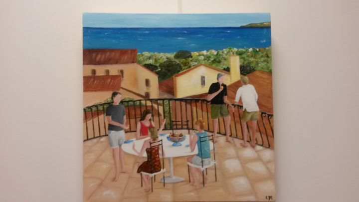 En vacances - Painting,  19.7x19.7 in, ©2015 by Lyl -                                                                                                                                                                                                                                                                                                                                                              Figurative, figurative-594, Family, Terrasse, fruits, personnages, vacances