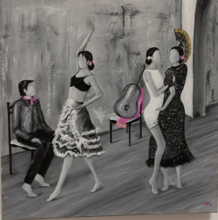 spectacle - Painting,  50x50 cm ©2015 by Lyl -                                            Figurative Art, Performing Arts, danseuses tango flamenco