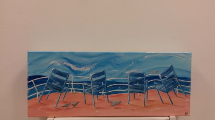 Les chaises bleues - Painting,  60x20 cm ©2015 by Lyl -                                                            Figurative Art, Canvas, Landscape, Nice Chaises Promenade