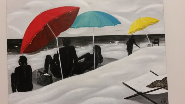 Ombres - Painting,  50x70 cm ©2016 by Lyl -                                            Figurative Art, Beach, plage personnages parasols sable ombres