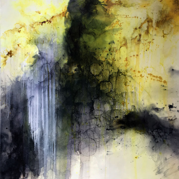 Building Castles - Painting,  48x48x1.6 in, ©2019 by Lynne Godina-Orme -                                                                                                                                                                                                                                                                                                                                                                                                                                                                                                                                              Abstract, abstract-570, Abstract Art, abstract, acrylic, ink, large, originals, black, grey, yellow