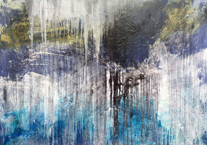 Never A Dull Moment - Painting,  48x72.1x1.6 in, ©2019 by Lynne Godina-Orme -                                                                                                                                                                                                                                                                                                                                                                                                                                                                                                                                                                                                                                  Abstract, abstract-570, abstract, canvas, original, large, texture, acrylic, ink, blue, black, green, white