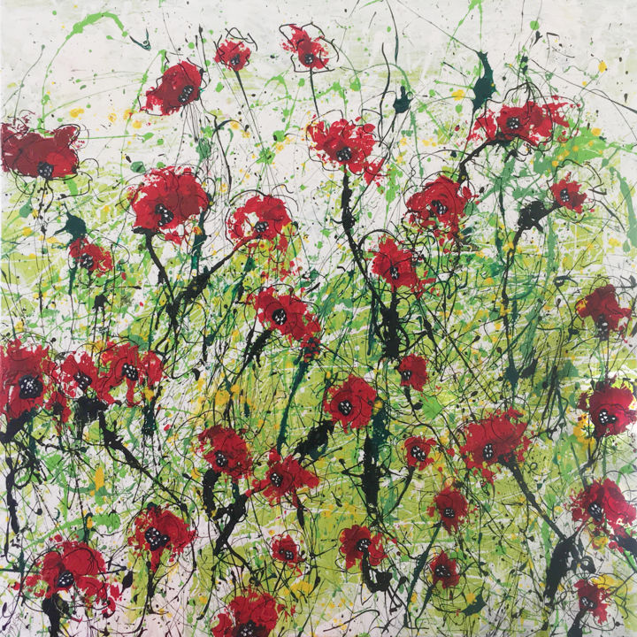 A Minute Silence - Peinture,  39,8x39,8x1,6 in, ©2019 par Lynne Godina-Orme -                                                                                                                                                                                                                                                                                                                                                                                                      Abstract, abstract-570, abstract, canvas, poppies, remembrance, red, green
