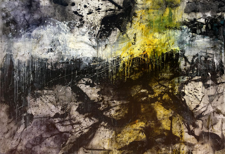 Find Your Light - Painting,  48x70.1x1.6 in, ©2019 by Lynne Godina-Orme -                                                                                                                                                                                                                                                                                                                                                                                                                                                                                                                                              Abstract, abstract-570, Abstract Art, abstract, canvas, large, black, white, yellow, bold, original