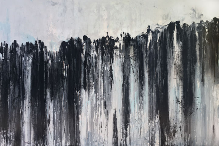 Change Of Plans - Painting,  51.2x76.8x1.6 in, ©2020 by Lynne Godina-Orme -                                                                                                                                                                                                                                                                                                                                                                                                                                                                                                                                                                                          Abstract, abstract-570, Abstract Art, abstract, canvas, extra large, black, white, blue, original, texture, australia