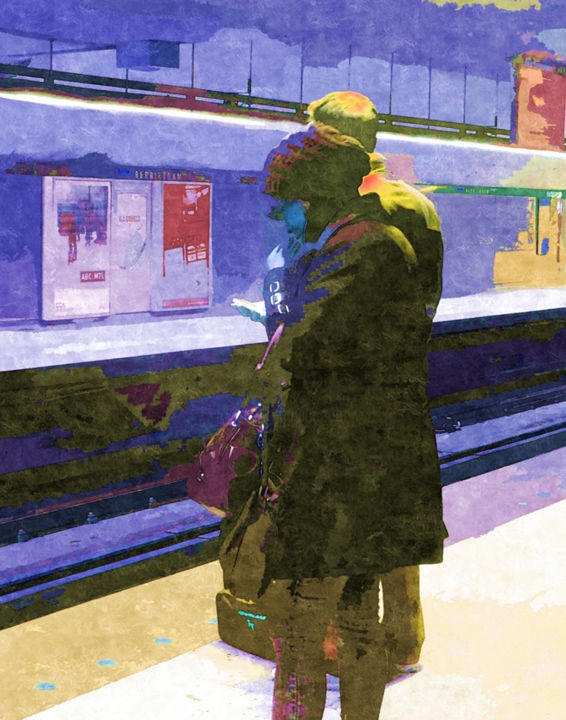 """Digital Arts titled """"Metro Stop"""" by Lynne Ayers, Original Art, Manipulated Photography"""