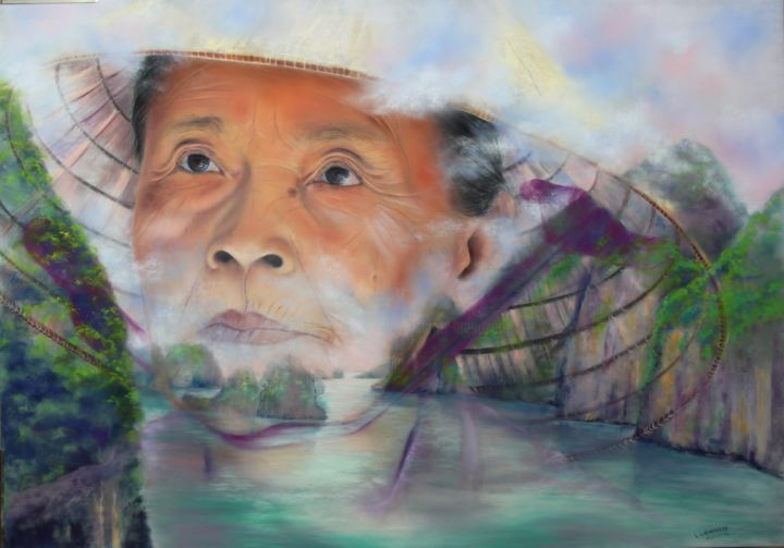 Halong dans ses rêves - Painting,  27.6x39.4 in, ©2018 by Lysiane Lagauzere -                                                                                                                                                                                                                                                                      Figurative, figurative-594, Portraits, baie d'Halong, femme vietnam