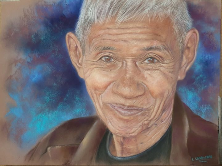 Malicieux - Painting,  11.8x15.8 in, ©2019 by Lysiane Lagauzere -                                                                                                                                                                                                                                                                      Figurative, figurative-594, Portraits, homme, thailande