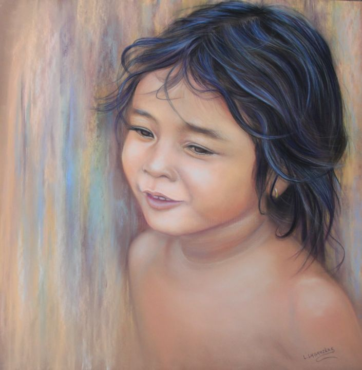 """Enfant de Tonlé Sap"" - Painting,  19.7x19.7 in, ©2020 by Lysiane Lagauzere -                                                                                                                                                                                                                                                                                                                                                              Figurative, figurative-594, Portraits, enfant, Cambodge, Tonlé Sap, portrait enfant"