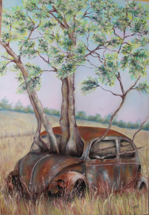 """Indomptable nature"" - Painting, ©2014 by Lysiane Lagauzere -                                                                                                                                                                          Figurative, figurative-594, Car"