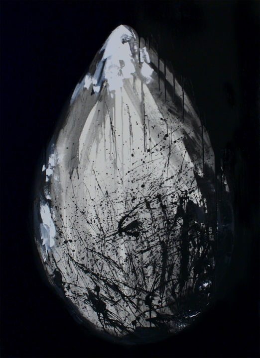 EGG - Painting,  120x90x3 cm ©2018 by Anna Lyubimova -                                                                                                                                Abstract Art, Abstract Expressionism, Conceptual Art, Contemporary painting, Abstract Art, Black and White, Mortality, Nature, Spirituality, egg, eternity, modern art, birth, death