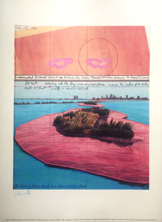 """Printmaking titled """"Christo: Surrounded…"""" by Manuel Aragonés, Original Art, Lithography"""