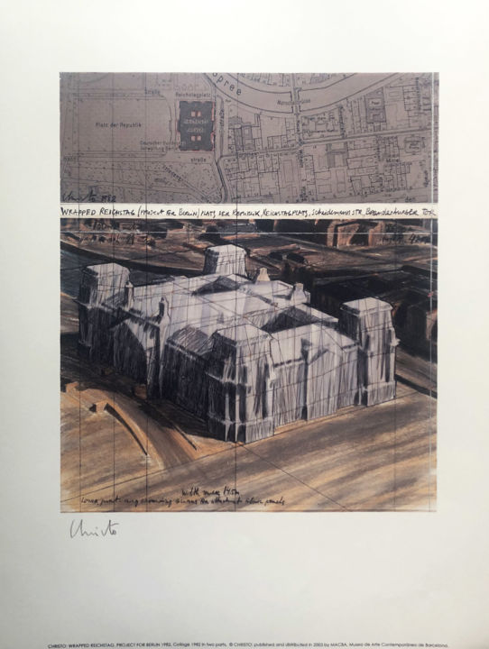 """Printmaking titled """"Christo: Reichstag…"""" by Manuel Aragonés, Original Art, Lithography"""